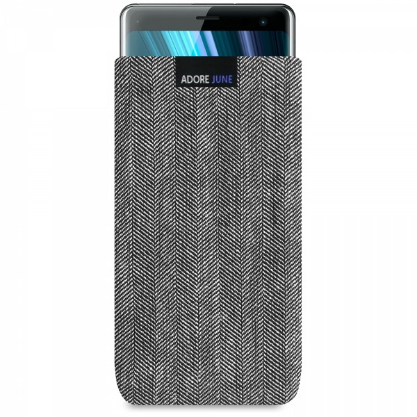 The picture shows the front of Business Sleeve for Sony Xperia XZ3 in color Grey / Black; As an illustration, it also shows what the compatible device looks like in this bag