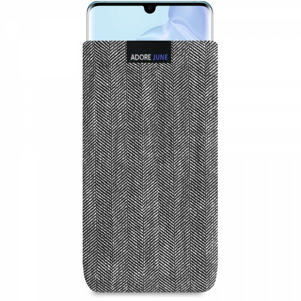 The picture shows the front of Business Sleeve for Huawei P30 PRO in color Grey / Black; As an illustration, it also shows what the compatible device looks like in this bag