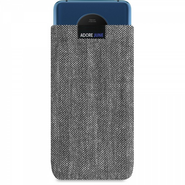 The picture shows the front of Business Sleeve for OnePlus 7T in color Grey / Black; As an illustration, it also shows what the compatible device looks like in this bag
