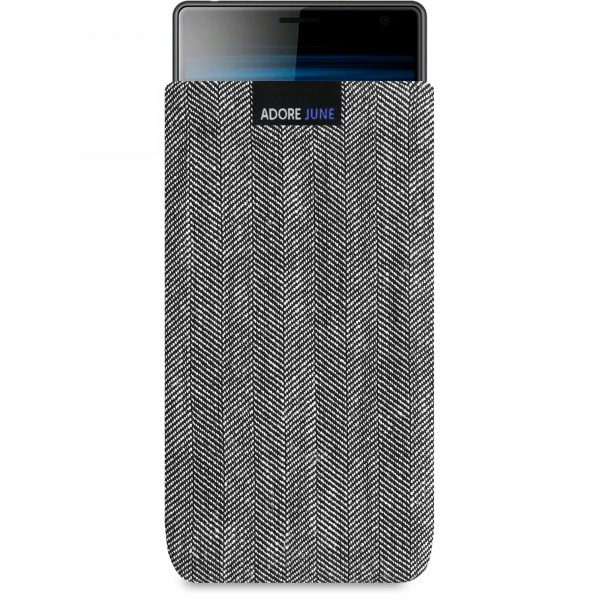 The picture shows the front of Business Sleeve for Sony Xperia 10 Plus and Xperia 1 in color Grey / Black; As an illustration, it also shows what the compatible device looks like in this bag