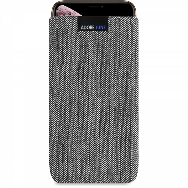 The picture shows the front of Business Sleeve for Apple iPhone Xs Max in color Grey / Black; As an illustration, it also shows what the compatible device looks like in this bag