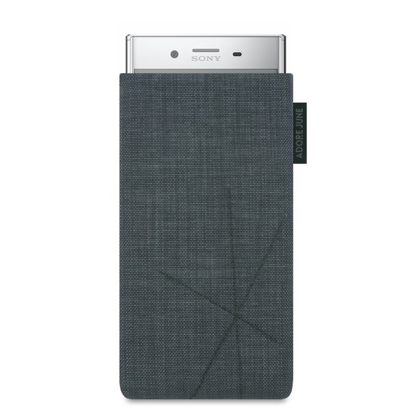 The picture shows the front of Axis Sleeve for Sony Xperia XZ Premium with Retract Function in color Dark Grey; As an illustration, it also shows what the compatible device looks like in this bag