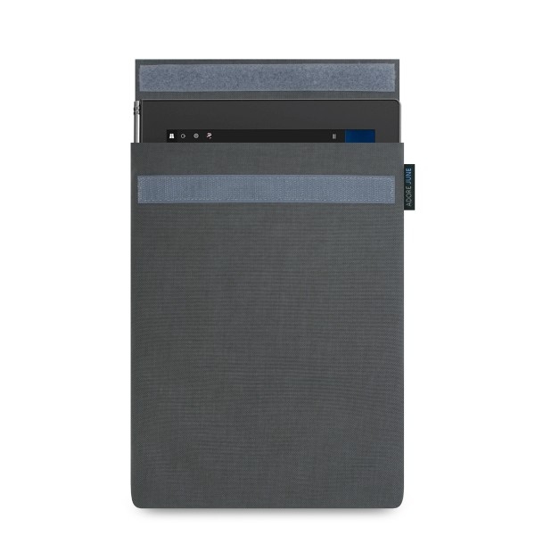 The picture shows the front of Classic Sleeve for Lenovo Yoga Book in color Dark Grey; As an illustration, it also shows what the compatible device looks like in this bag