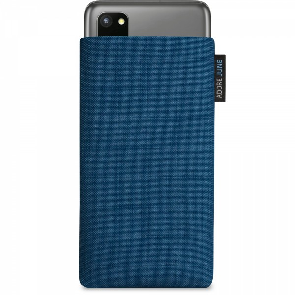 The picture shows the front of Classic Sleeve for Samsung Galaxy S20 in color Ocean-Blue; As an illustration, it also shows what the compatible device looks like in this bag