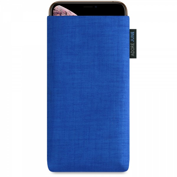 The picture shows the front of Classic Sleeve for Apple iPhone Xs Max in color Blue; As an illustration, it also shows what the compatible device looks like in this bag