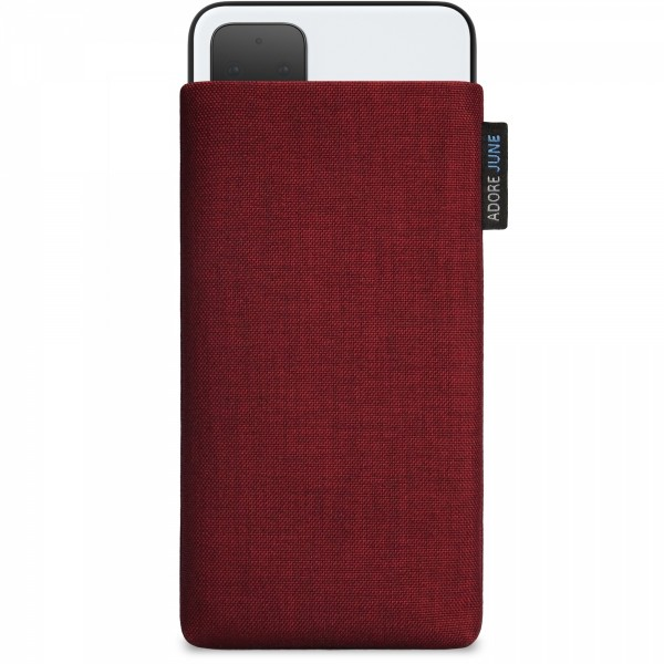 The picture shows the front of Classic Sleeve for Google Pixel 4 XL in color Bordeaux-Red; As an illustration, it also shows what the compatible device looks like in this bag