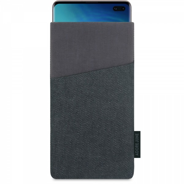 The picture shows the front of Clive Sleeve for Samsung Galaxy S10 Plus in color Black / Grey; As an illustration, it also shows what the compatible device looks like in this bag