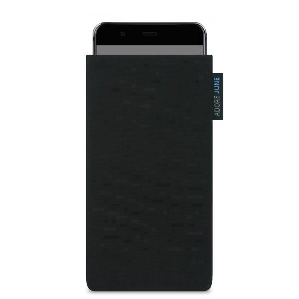 Das Bild zeigt die Vorderseite von Classic Tasche für Huawei P10 in Farbe Schwarz; Zur Veranschaulichung wird ebenfalls dargestellt, wie das kompatible Gerät in dieser Tasche aussieht