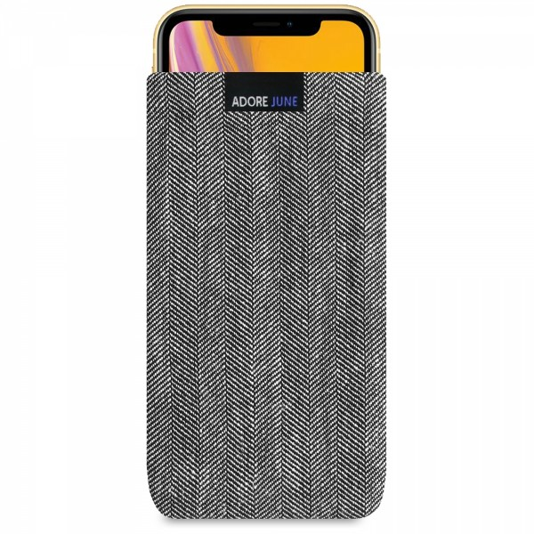 The picture shows the front of Business Sleeve for Apple iPhone XR in color Grey / Black; As an illustration, it also shows what the compatible device looks like in this bag