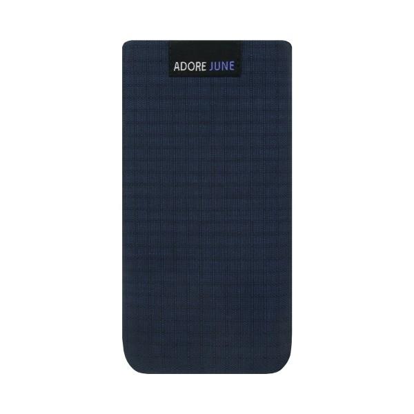 Das Bild zeigt die Vorderseite von Business II Tasche für Apple iPhone 5 5S und SE in Farbe Blau / Schwarz
