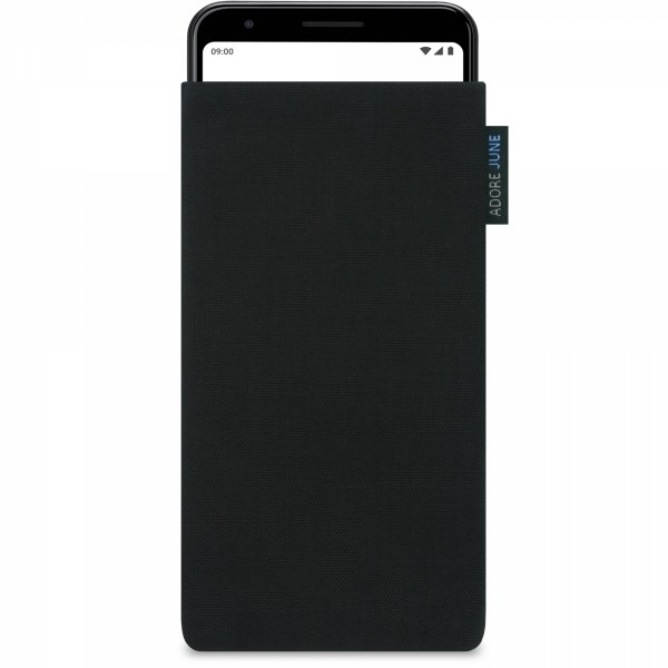 The picture shows the front of Classic Sleeve for Google Pixel 3a in color Black; As an illustration, it also shows what the compatible device looks like in this bag
