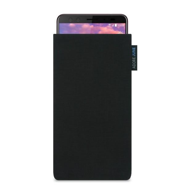 Das Bild zeigt die Vorderseite von Classic Tasche für HTC U12 Plus in Farbe Schwarz; Zur Veranschaulichung wird ebenfalls dargestellt, wie das kompatible Gerät in dieser Tasche aussieht