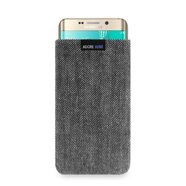 The picture shows the front of Business Sleeve for Samsung Galaxy S6 Edge Plus in color Grey / Black; As an illustration, it also shows what the compatible device looks like in this bag