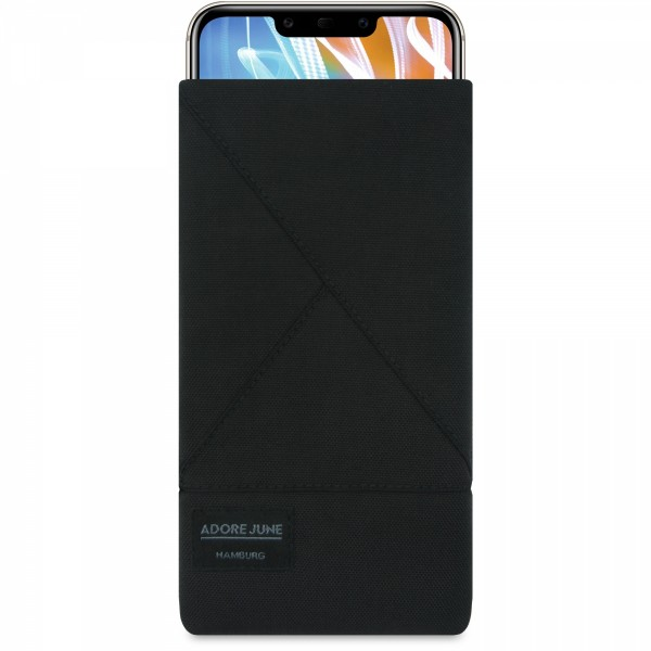 The picture shows the front of Triangle Sleeve for Huawei Mate 20 LITE in color Black; As an illustration, it also shows what the compatible device looks like in this bag