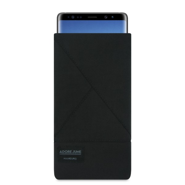 The picture shows the front of Triangle Sleeve for Samsung Galaxy Note 8 in color Black; As an illustration, it also shows what the compatible device looks like in this bag
