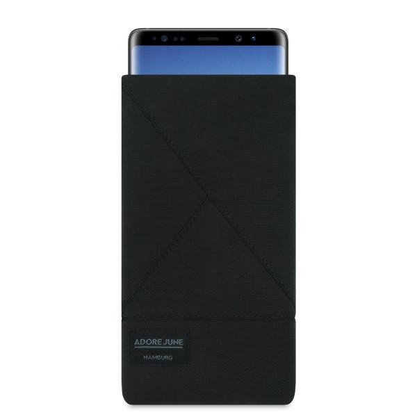 Das Bild zeigt die Vorderseite von Triangle Tasche für Samsung Galaxy Note 8 in Farbe Schwarz; Zur Veranschaulichung wird ebenfalls dargestellt, wie das kompatible Gerät in dieser Tasche aussieht