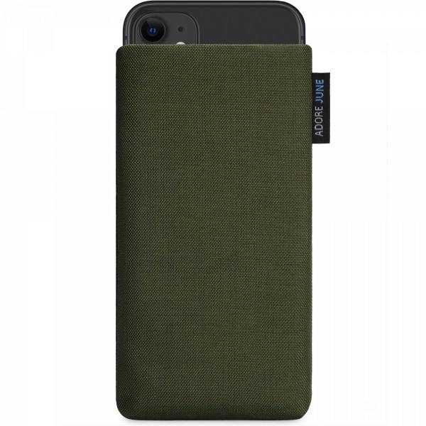 The picture shows the front of Classic Sleeve for Apple iPhone 11 in color Olive Green; As an illustration, it also shows what the compatible device looks like in this bag
