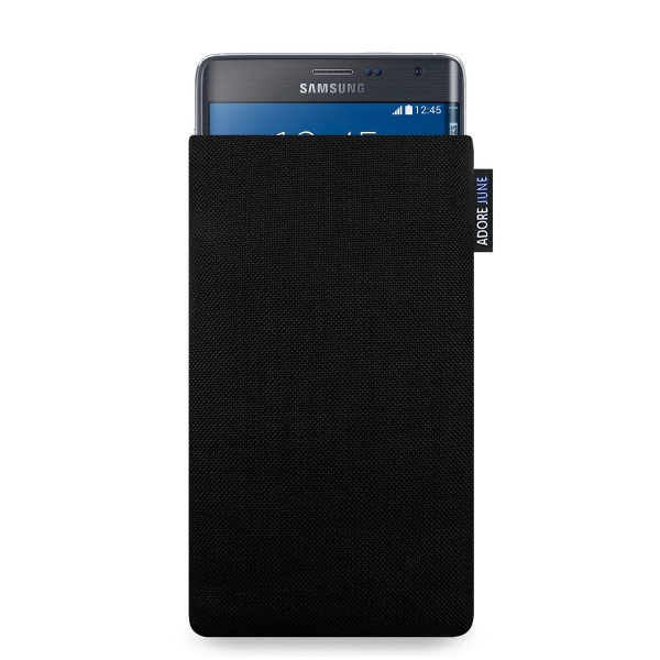 The picture shows the front of Classic Sleeve for Samsung Galaxy Note Edge in color Black; As an illustration, it also shows what the compatible device looks like in this bag
