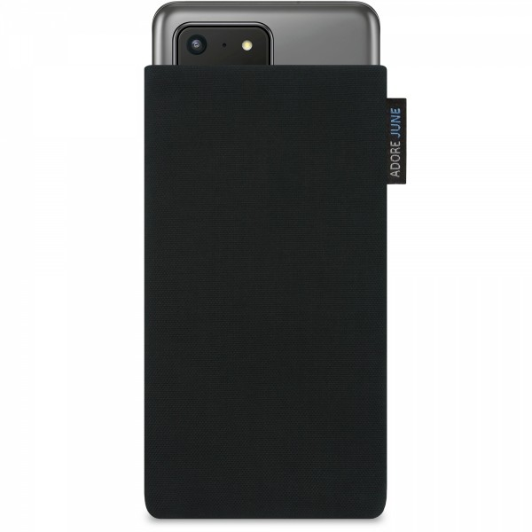 Das Bild zeigt die Vorderseite von Classic Tasche für Samsung Galaxy S20 Ultra in Farbe Schwarz; Zur Veranschaulichung wird ebenfalls dargestellt, wie das kompatible Gerät in dieser Tasche aussieht