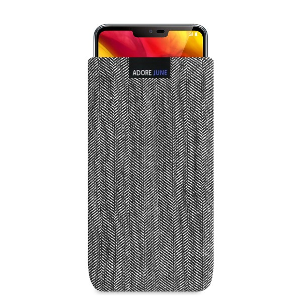 The picture shows the front of Business Sleeve for LG G7 ThinQ and LG G7 One in color Grey / Black; As an illustration, it also shows what the compatible device looks like in this bag