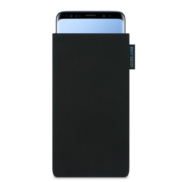 The picture shows the front of Classic Sleeve for Samsung Galaxy S9 Plus in color Black; As an illustration, it also shows what the compatible device looks like in this bag