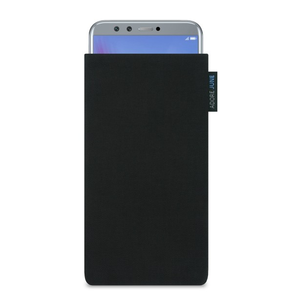 The picture shows the front of Classic Sleeve for Honor 9 LITE in color Black; As an illustration, it also shows what the compatible device looks like in this bag