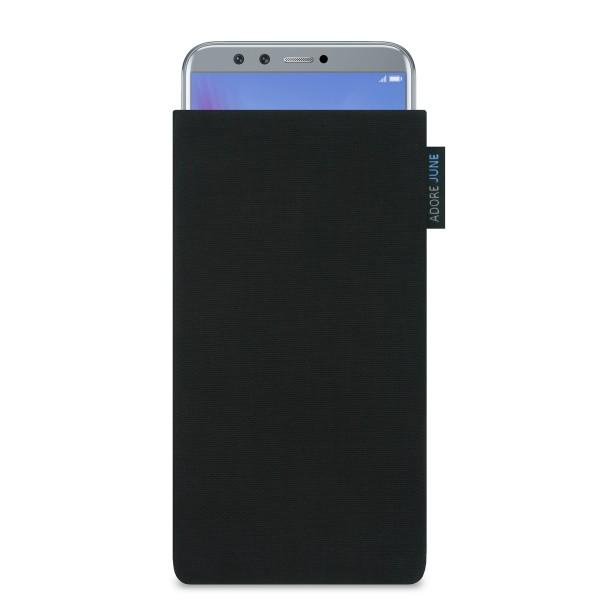 Das Bild zeigt die Vorderseite von Classic Tasche für Honor 9 LITE in Farbe Schwarz; Zur Veranschaulichung wird ebenfalls dargestellt, wie das kompatible Gerät in dieser Tasche aussieht