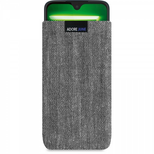 The picture shows the front of Business Sleeve for Motorola Moto G7 and Moto G7 Plus in color Grey / Black; As an illustration, it also shows what the compatible device looks like in this bag