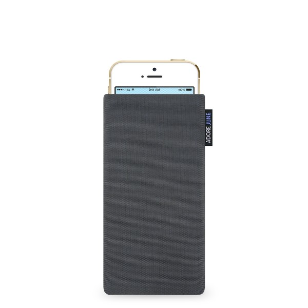 The picture shows the front of Classic Sleeve for Apple iPhone SE and iPhone 5 and 5S in color Dark Grey; As an illustration, it also shows what the compatible device looks like in this bag