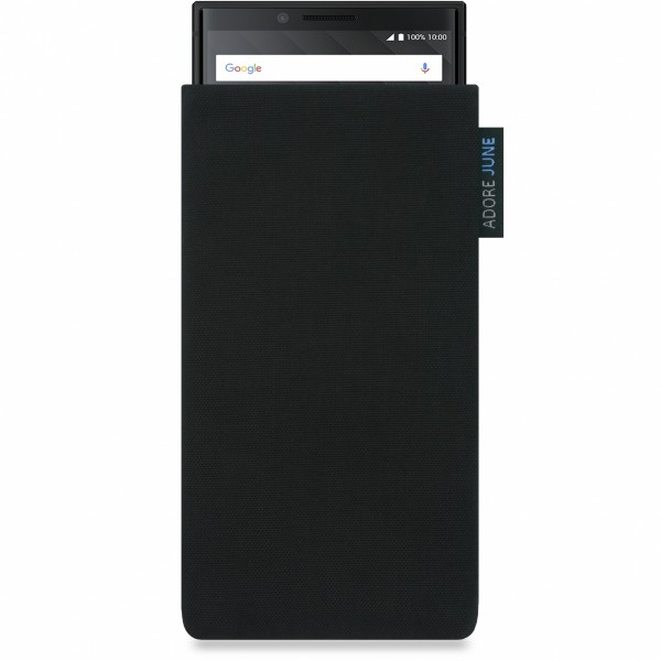 The picture shows the front of Classic Sleeve for BlackBerry Key2 and Key2 LE in color Black; As an illustration, it also shows what the compatible device looks like in this bag
