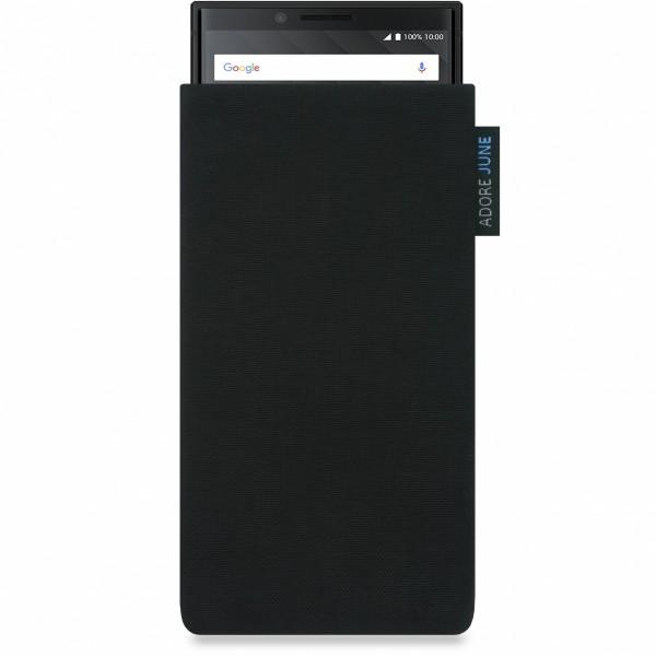Das Bild zeigt die Vorderseite von Classic Tasche für BlackBerry Key2 und Key2 LE in Farbe Schwarz; Zur Veranschaulichung wird ebenfalls dargestellt, wie das kompatible Gerät in dieser Tasche aussieht