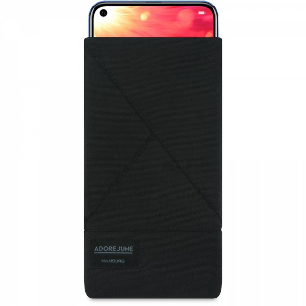 The picture shows the front of Triangle Sleeve for Honor View 10 and Honor View 20 in color Black; As an illustration, it also shows what the compatible device looks like in this bag