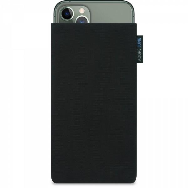 Das Bild zeigt die Vorderseite von Classic Tasche für Apple iPhone 11 Pro in Farbe Schwarz; Zur Veranschaulichung wird ebenfalls dargestellt, wie das kompatible Gerät in dieser Tasche aussieht