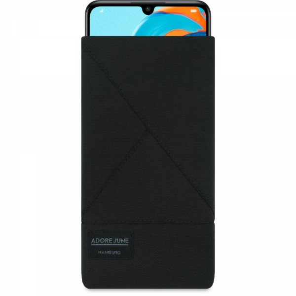 The picture shows the front of Triangle Sleeve for Huawei P30 Lite in color Black; As an illustration, it also shows what the compatible device looks like in this bag