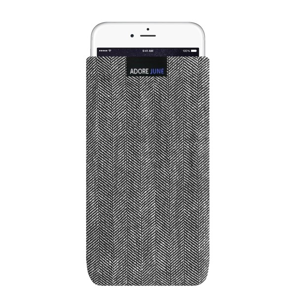 The picture shows the front of Business Sleeve for Apple iPhone 6 Plus 6S Plus and iPhone 7 Plus in color Grey / Black; As an illustration, it also shows what the compatible device looks like in this bag