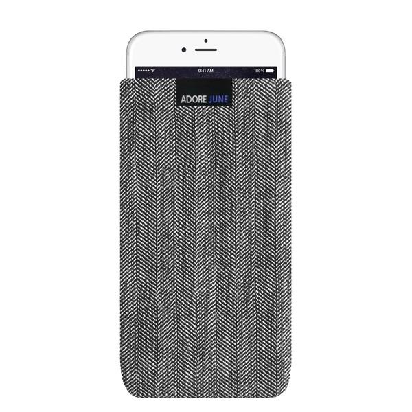 Das Bild zeigt die Vorderseite von Business Tasche für Apple iPhone 6 Plus 6S Plus und iPhone 7 Plus in Farbe Grau / Schwarz; Zur Veranschaulichung wird ebenfalls dargestellt, wie das kompatible Gerät in dieser Tasche aussieht