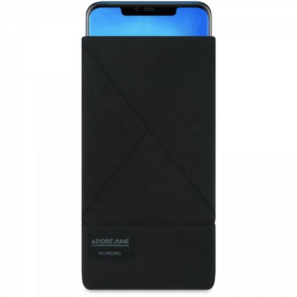 Das Bild zeigt die Vorderseite von Triangle Tasche für Huawei Mate 20 Pro in Farbe Schwarz; Zur Veranschaulichung wird ebenfalls dargestellt, wie das kompatible Gerät in dieser Tasche aussieht
