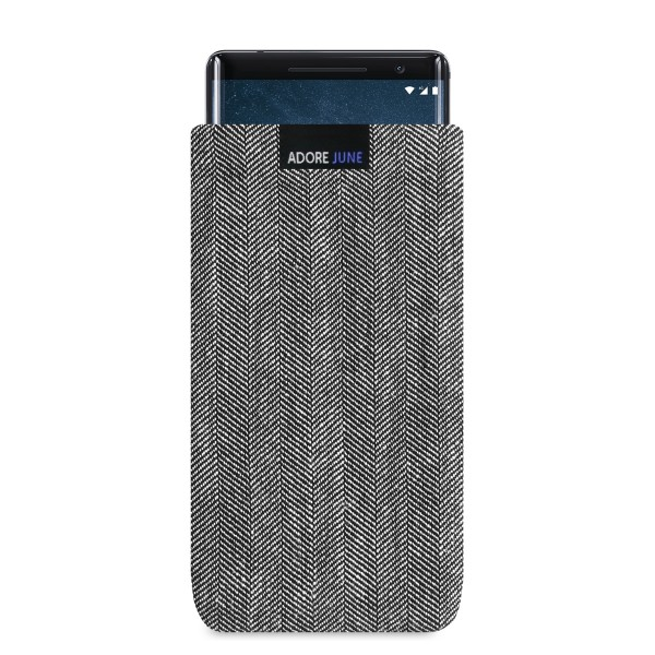 The picture shows the front of Business Sleeve for Nokia 8 Sirocco in color Grey / Black; As an illustration, it also shows what the compatible device looks like in this bag