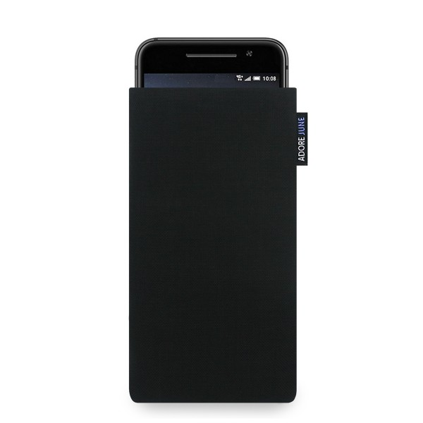 The picture shows the front of Classic Sleeve for HTC One A9 in color Black; As an illustration, it also shows what the compatible device looks like in this bag