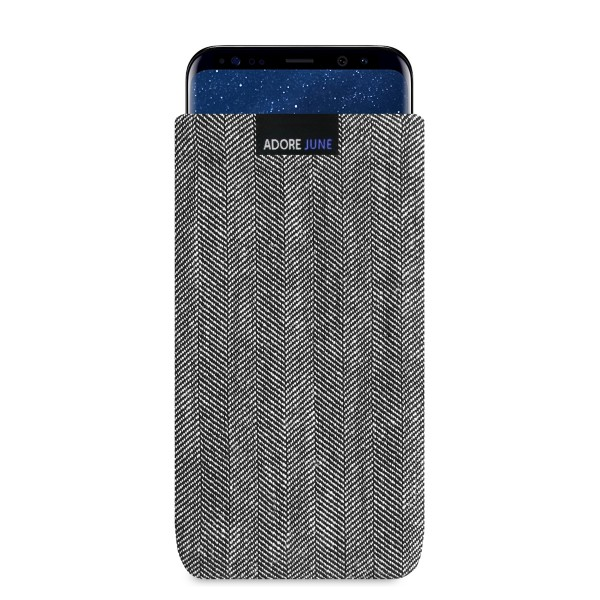 The picture shows the front of Business Sleeve for Samsung Galaxy S8 Plus in color Grey / Black; As an illustration, it also shows what the compatible device looks like in this bag