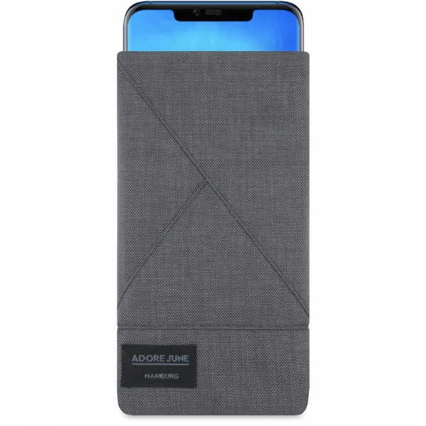 The picture shows the front of Triangle Sleeve for Huawei Mate 20 Pro in color Dark Grey; As an illustration, it also shows what the compatible device looks like in this bag