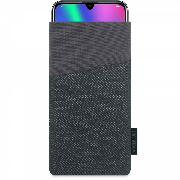 The picture shows the front of Clive Sleeve for Honor 20 Honor 20 Pro and Honor 10 LITE in color Black / Grey; As an illustration, it also shows what the compatible device looks like in this bag