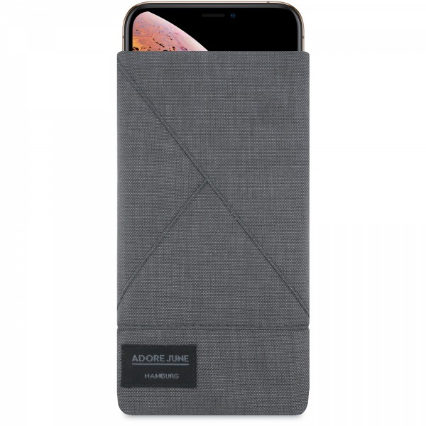 The picture shows the front of Triangle Sleeve for Apple iPhone X and iPhone XS in color Dark Grey; As an illustration, it also shows what the compatible device looks like in this bag