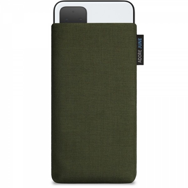 The picture shows the front of Classic Sleeve for Google Pixel 4 in color Olive-Green; As an illustration, it also shows what the compatible device looks like in this bag