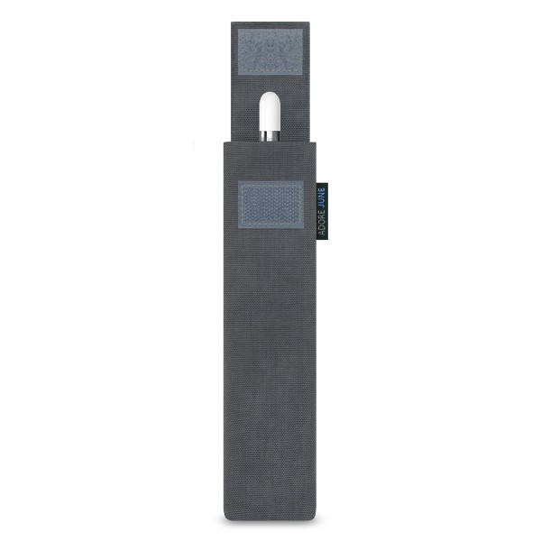 The picture shows the front of Classic Sleeve for Apple Pencil in color Dark Grey; As an illustration, it also shows what the compatible device looks like in this bag