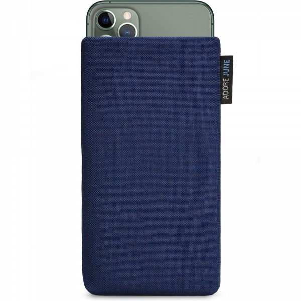 The picture shows the front of Classic Sleeve for Apple iPhone 11 Pro Max in color Midnight-Blue; As an illustration, it also shows what the compatible device looks like in this bag