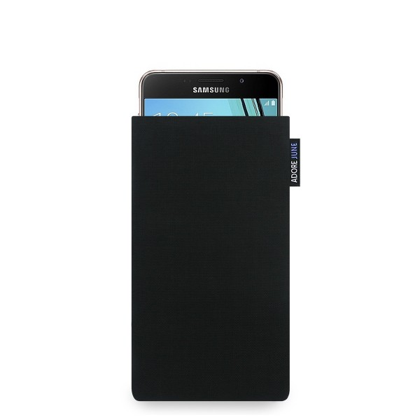 The picture shows the front of Classic Sleeve for Samsung Galaxy A3 2016-2017 in color Black; As an illustration, it also shows what the compatible device looks like in this bag